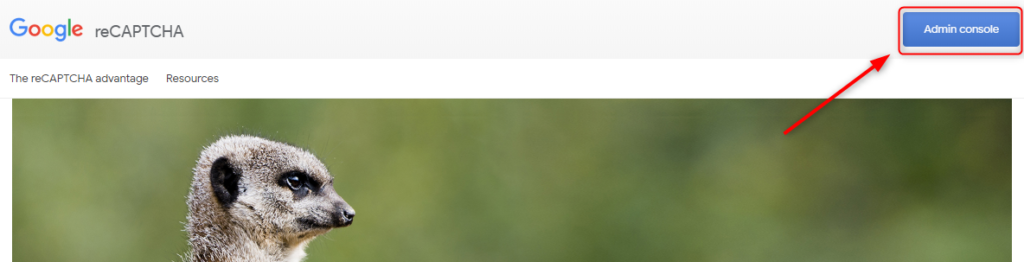 recapcha取得画面の右上をクリック